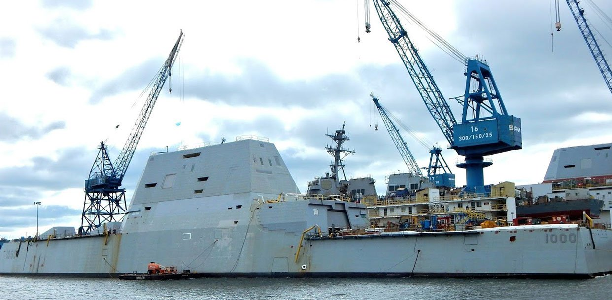 The USS Zumwalt being built at Bath Iron Works