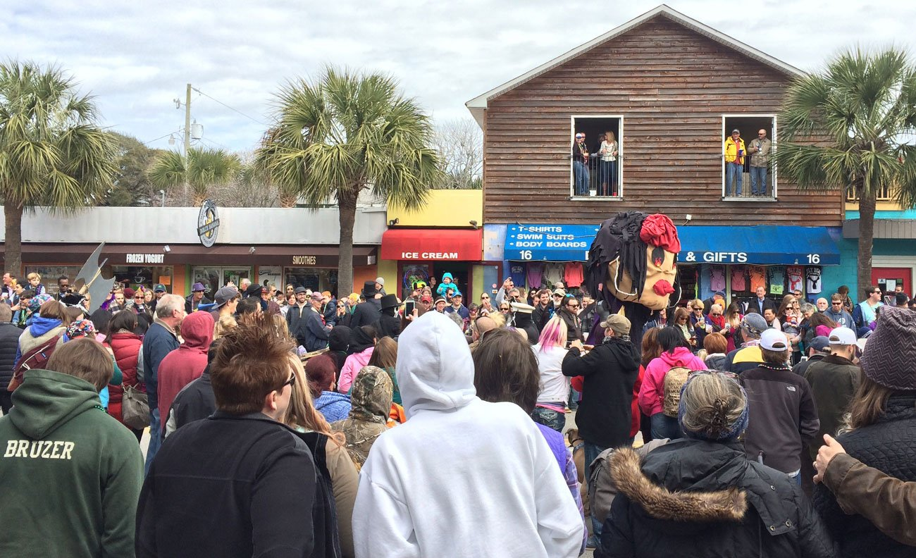 An unexpected crowd at Folly Beach for FollyGras