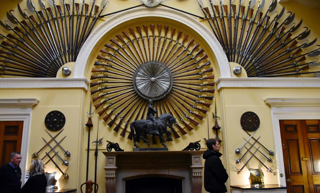 Armoury Hall in Inveraray Castle. Many of the weapons were used at the Battle of Culloden.