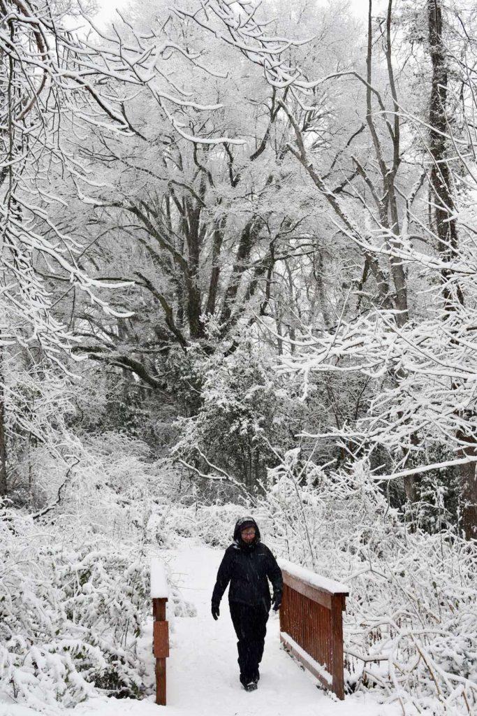 Testing outdoor winter hiking gear