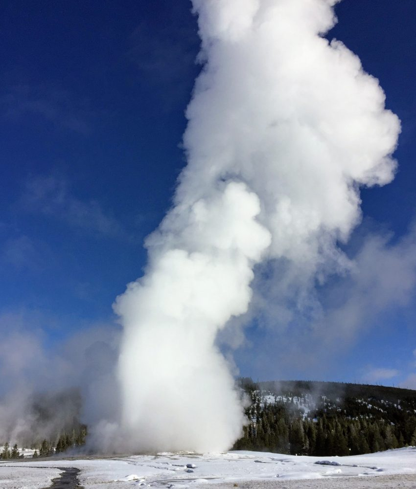 Old Faithful Geyser draws thousands each eruption during summer season. In winter you may be the only witness.