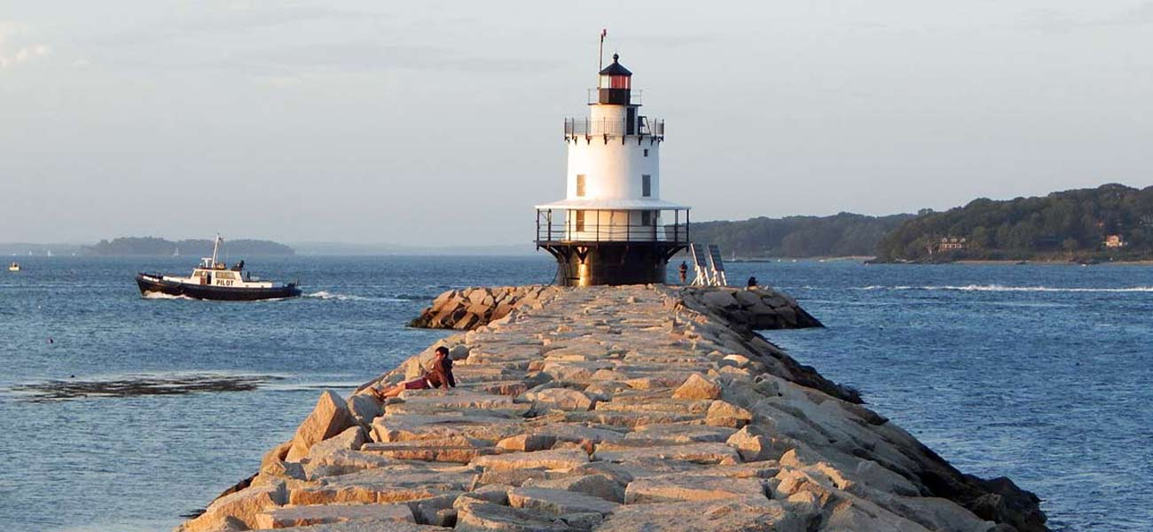 Portland Maine's Breakwater Lighthouse, also known as The Bug.