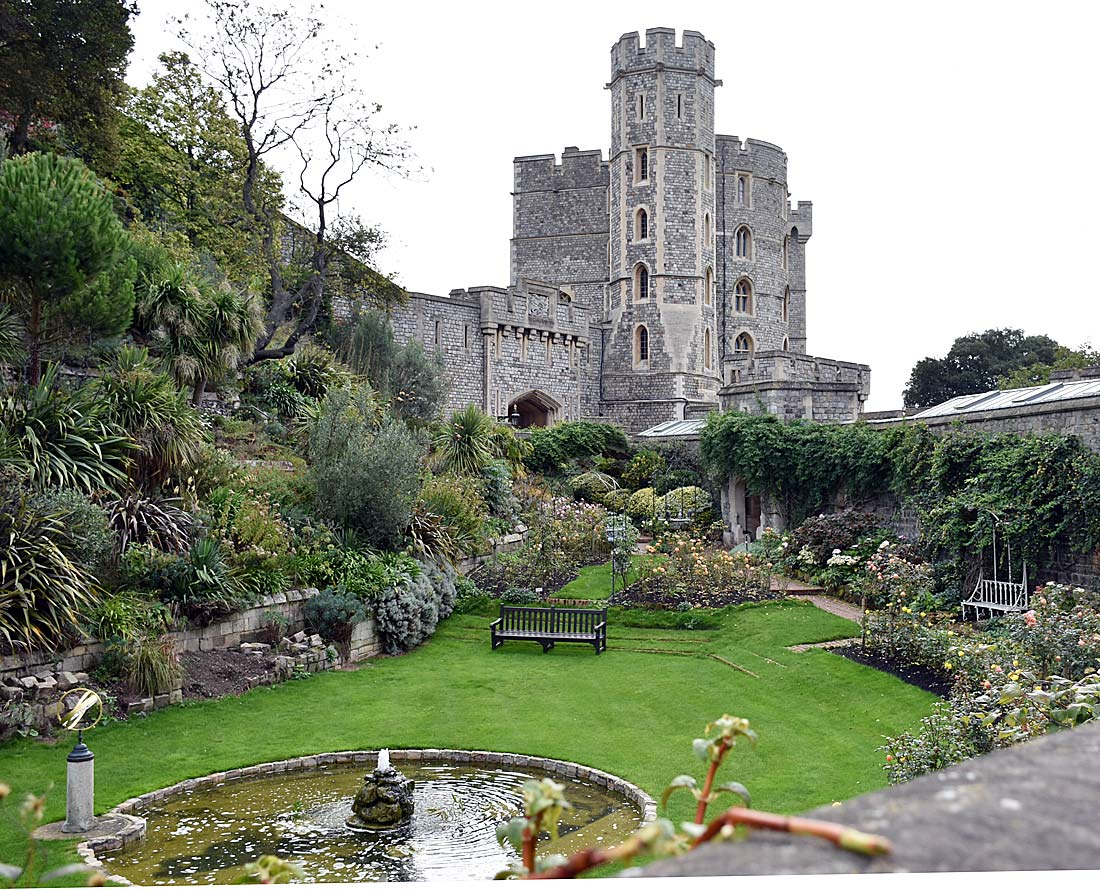 A former protective feature, Windsor Castle moat is now a beautiful garden.