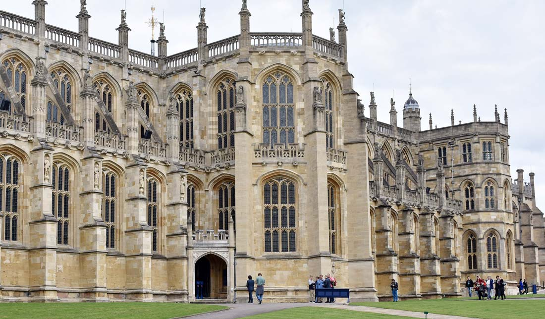 St. George's Chapel sits inside the walls of Windsor Castle.