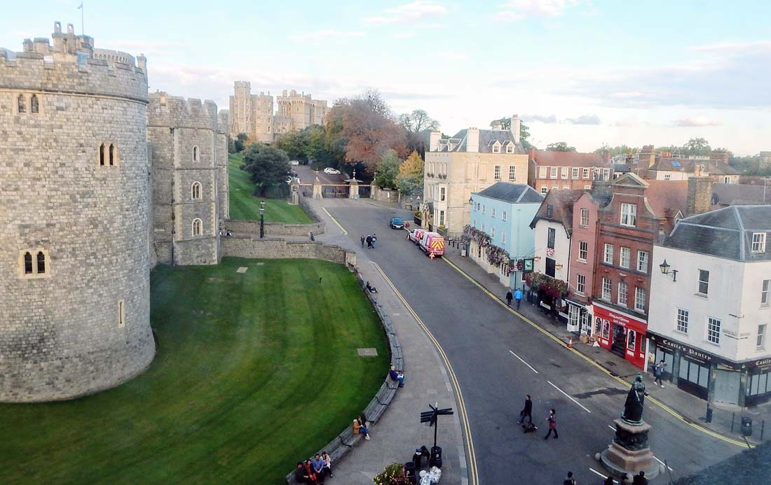The historic town of Windsor, surrounding Windsor Castle.