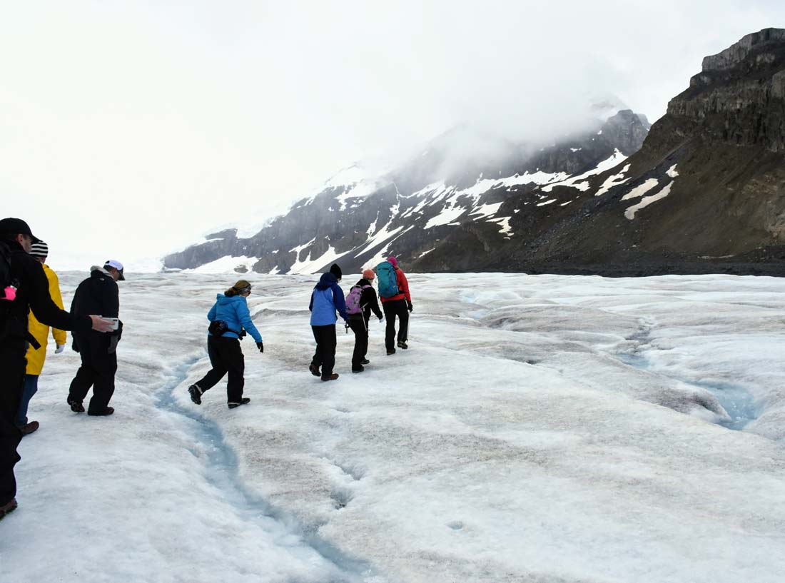 Hiking Columbia Icefield glacier Icewalks guided tour