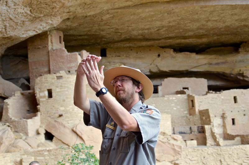 Why did the Ancestral Pueblo people abandon the cliff communities 800 years ago in the area now designated Mesa Verde National Park, CO?
