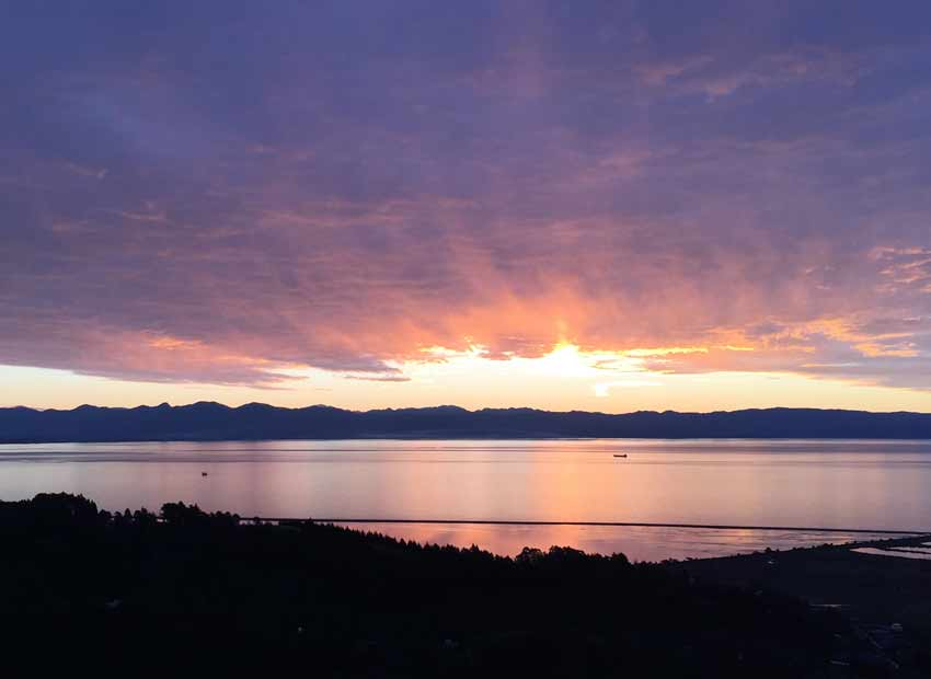 Sunset Tasman Bay Nelson New Zealand