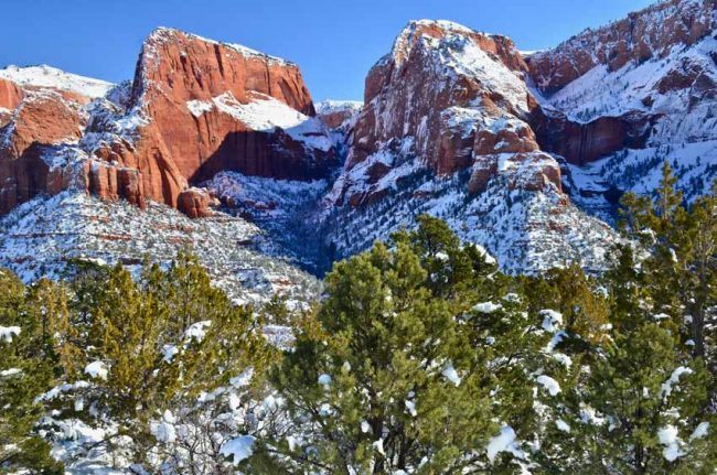 zion national park kolob canyon winter
