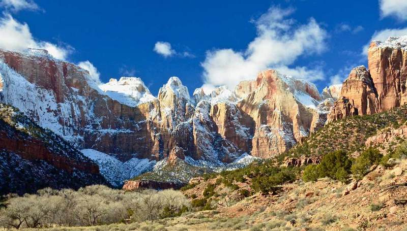 zion national park valley snow peks