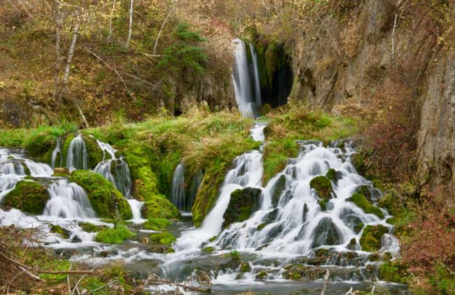 The Spearfish Canyon Scenic Byway includes Roughlock Falls.
